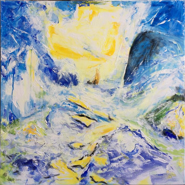 Urent vann Akrylmaleri (80x80 cm) kr 8000 ur