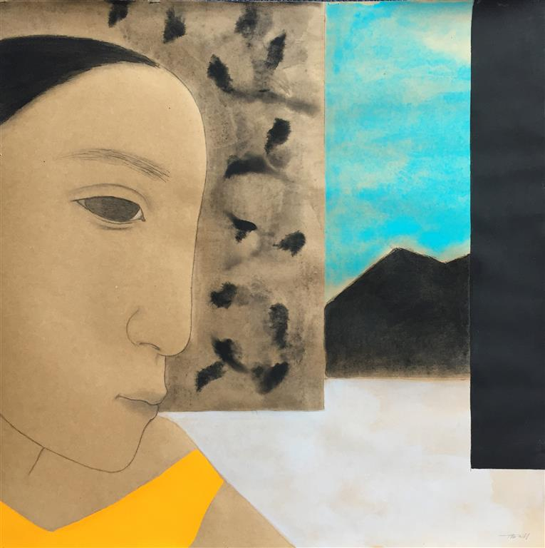 Face I Akryl på papir (60x60 cm) kr 5600 ur