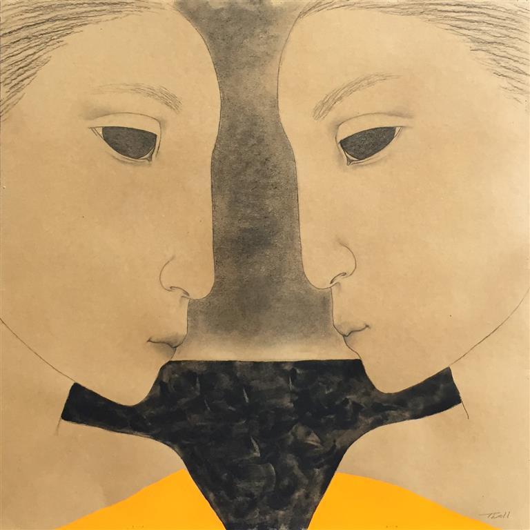 Face to face III Akryl på papir(60x60 cm) kr 5600 ur