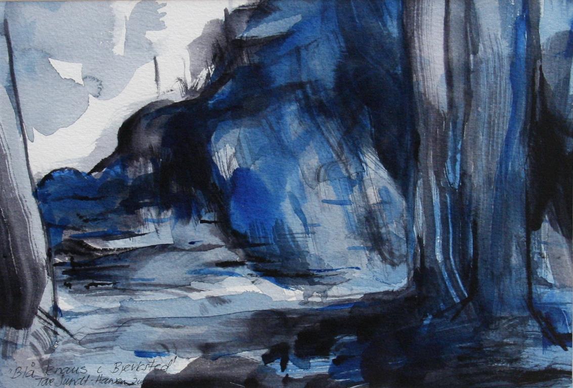 Blå knaus i Bjerksted Akvarell (17x25 cm) kr 2900 mr