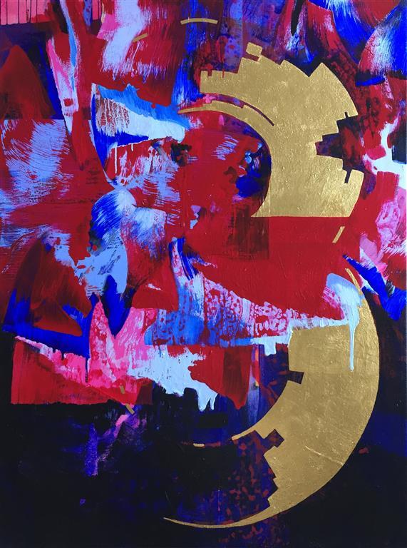 Evighetens vræl Akrylmaleri med 24 k gull (120x90 cm) kr 58000 ur
