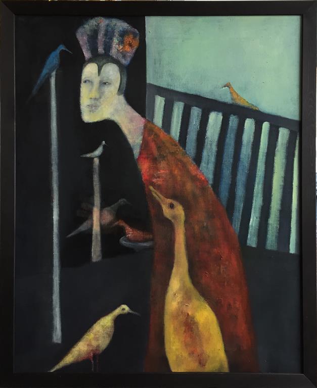 Den blå fuglen Akrylmaleri (100x81 cm) kr 15000 mr