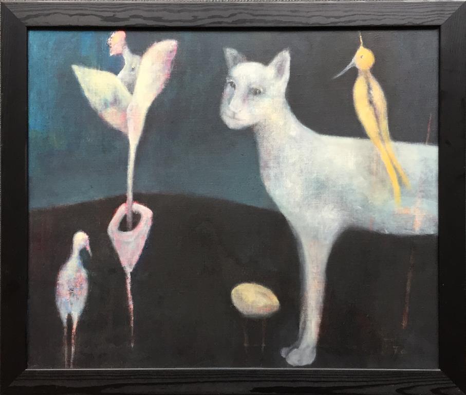 Skjønner ikke hvorfor jeg er så populær Akrylmaleri (54x65 cm) kr 7200 mr