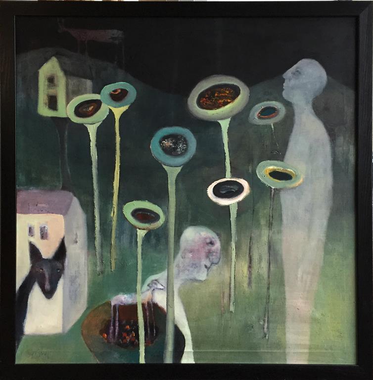 Sommernatt Akrylmaleri (92x92 cm) kr 15000 mr