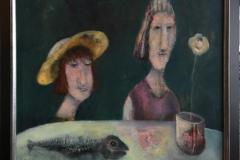 De sier hodet er best Akrylmaleri (60x73 cm) kr 9000 mr