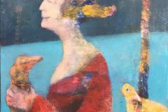 En fugl i hånden Akrylmaleri (50x50 cm) kr 4800 ur