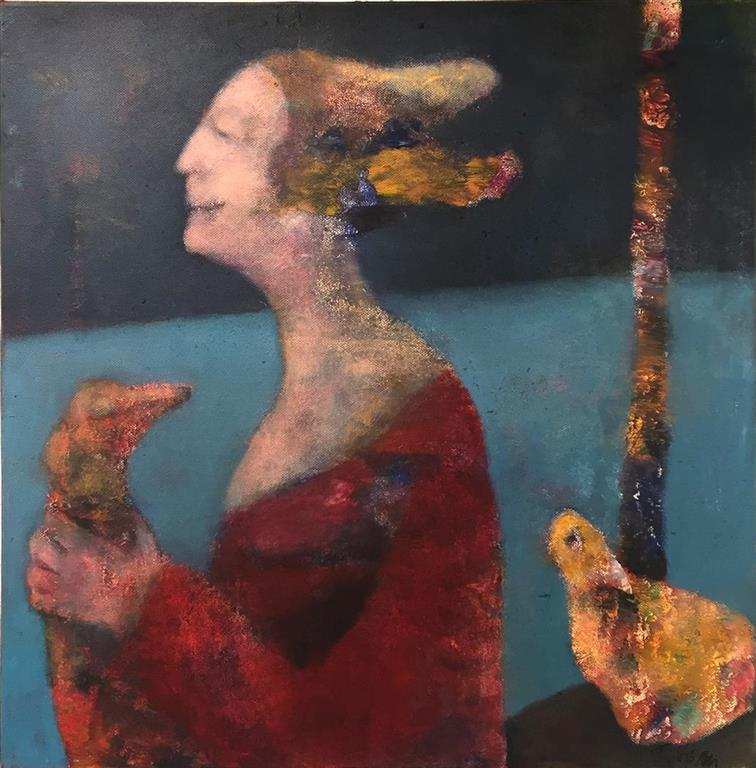 Trine Storen. En fugl i handen Akrylmaleri (50x50 cm) kr 4800 ur