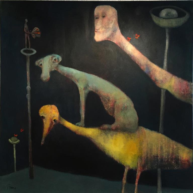 Trine Storen. Hvem bestemmer Akrylmaleri (100x100 cm) kr 20000 ur
