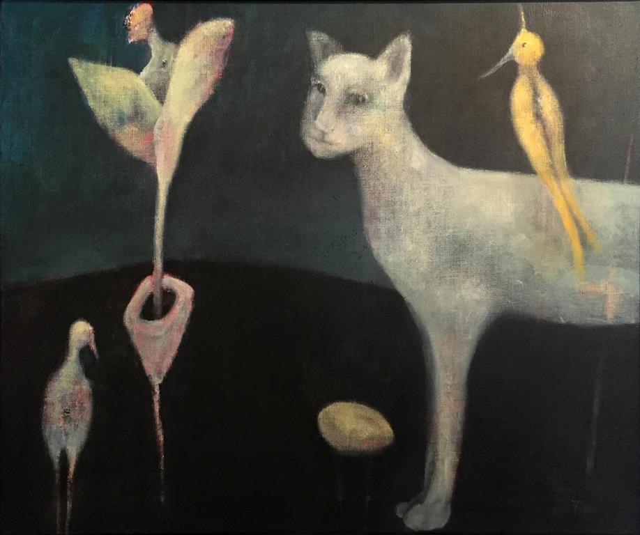 Trine Storen. Skjonner ikke.... Akrylmaleri (54x65 cm) kr 7200 mr