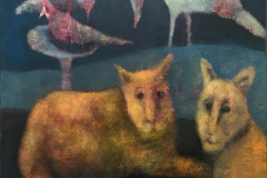 Trine Storen. Han der oppe er ikke helt god Akrylmaleri (50x50 cm) kr 4800 ur