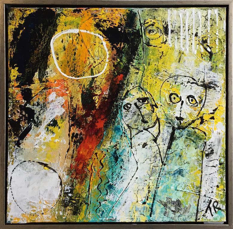 Gennem ild og vann Akrylmaleri (60x60 cm) kr 5000 mr