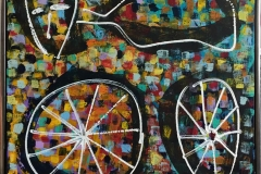 Gode ben Akrylmaleri (70x70 cm) kr 6500 mr