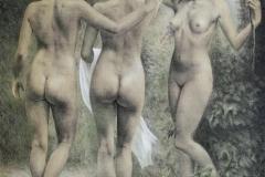 Tre gratier Litografi 60x53 cm 2900 ur