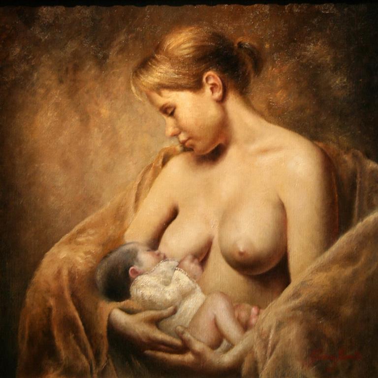 Mor og barn Maleri 50x50 cm 20000 mr